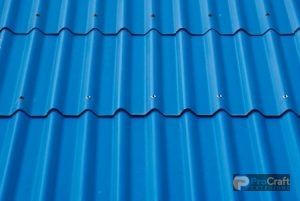 Panel of Blue Corrugated Metal