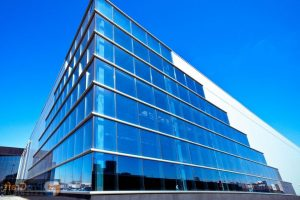Modern Office Building with Glass Corner