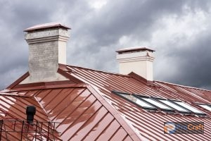 Red Metal Roof with Skylights